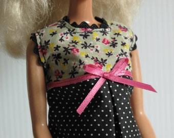 Barbie Clothes - Barbie Black Dress - Barbie Black Polka Dot Dress - Barbie Tent Dress - Barbie Modest - Handmade