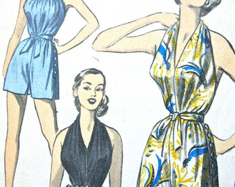 1950s Advance 6116 Halter Top Playsuit Shorts and Skirt Vintage Sewing Pattern  Bust 30