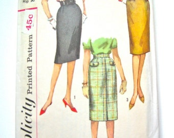 Vintage 1950s skirt sewing pattern by Simplicity 3626        Waist 26, Hip 36 inches