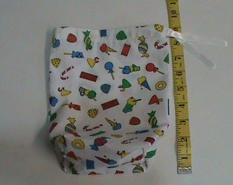 Stand Up White with Ice Cream and Candy and Gum Drawstring Pouch