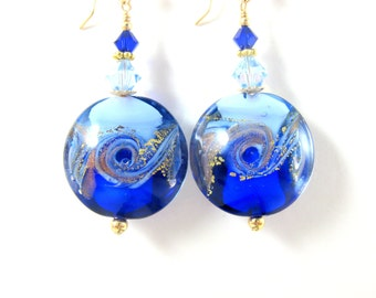 Beach Earrings, Cobalt Light Blue Gold Earrings, Wave Earrings, Ocean Earrings Murano Earrings Nautical Earrings Beach Jewelry Ocean Jewelry