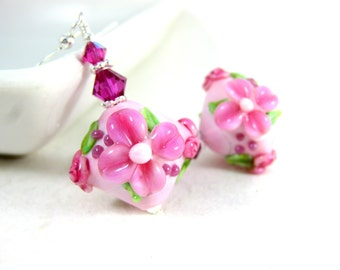 Pink Floral Dangle Earrings, Cottage Chic Earrings, Botanical Earrings, Nature Jewelry, Lampwork Earrings, Flower Earrings Romantic Earrings