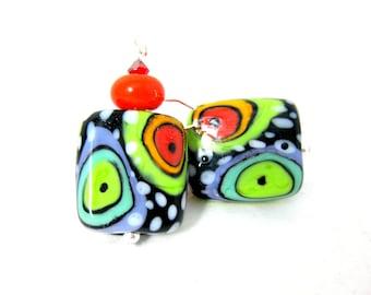 Colorful Funky Earrings, Multicolor Dangle Earrings, Statement Earrings, Bright Color Jewelry, Lampwork Glass Earrings, Spotted Earrings