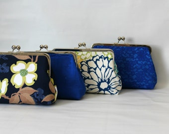 Wedding Clutches - Bridesmaids Clutches - Wedding Gifts - Blue Bridal Clutch Set - Bridesmaid Gifts - Bridal Clutch Set - Set of 4