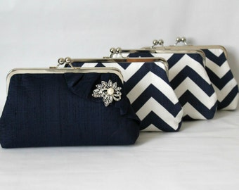 Bridal Clutch - Wedding Clutch - Bridesmaids Clutch - Wedding Purse - Bridal Purse - Bridesmaid Gifts - Navy Clutch Set -Bridesmaid Set of 4