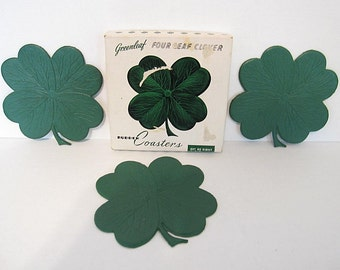 8 Vintage FOUR LEAF CLOVER Rubber Coasters St Patricks Day Lucky