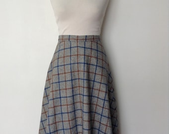 1970s plaid vintage woolen skirt - gey brown and blue - small S