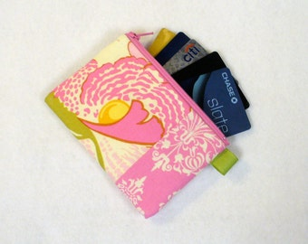 Clearance SALE Amy Butler Fabric Business Card Case Coin Purse Zipper Credit Card Case Card Holder Wallet Fresh Poppies Fuchsia Pink Green