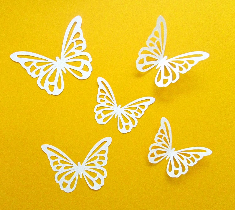 Butterflies 30 white 3d paper butterflies birthday baby for White paper butterflies