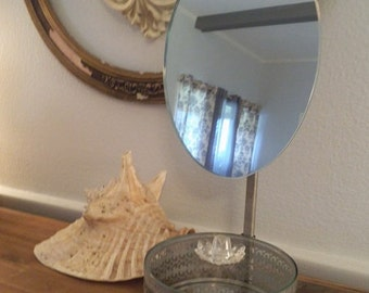 Vintage Silver Plate  Adjustable Make Up mirror with attached Jewelry box ~ Shabby Chic Romantic cottage