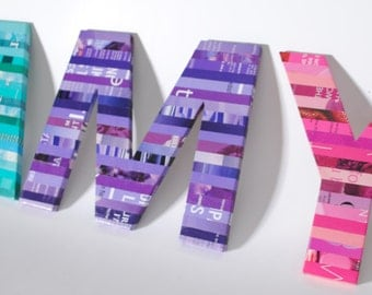 colorful letters made with recycled magazines- bright colors, unique, nursery decoration, family name, initial, alphabet, recycled, upcycled