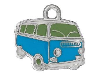 VW Blue Bus Enamel Silver Charms 20mm 3 Pieces