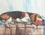 Framed Original Ink and Watercolor Painting of Snoopy The Beagle Sleeping by Window by Nancy Cuevas