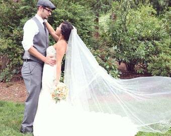 Drop Wedding Veil Floor Length Simple and Elegant, Bridal Veil DV32/70CE