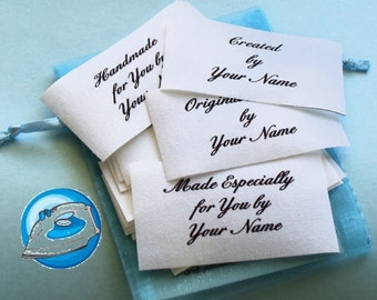 Qty 28 - 1 1/4 x 1 3/4 Inch OOAK Custom Fabric Supply Iron On Labels
