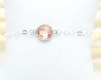 Peach Champagne Sterling Silver Bridesmaid Bracelet