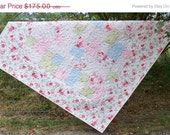 Quilt Clearance Sale Quilt Romantic Shaby Chic girl quilt toddler baby lap size 62.5 X 56 cuddle quilt