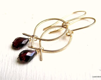 Garnet Gold Earrings , Garnet Earrings , Gold Fill , Dangle Earrings ,  January Birthday , Garnet Jewelry