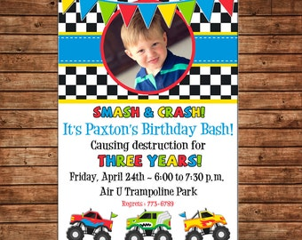 Boy Photo Picture Monster Truck Birthday Invitation - DIGITAL FILE