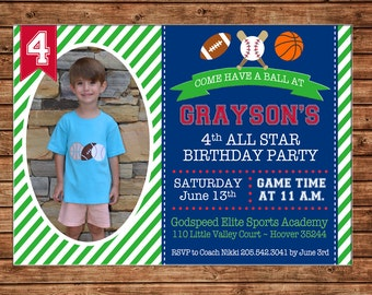 Boy or Girl Photo Picture Sports Sport Baseball Football Basketball Stripe Invitation Birthday Party Invitation - DIGITAL FILE