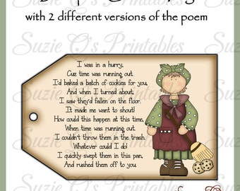 Dustpan Cookies Tag with 2 different poems - CU Digital Printable -Immediate Download