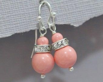 CUSTOM COLOR Bridesmaid Earrings, Swarovski Pink Coral Earrings, Bridesmaid Jewelry, Personalized Bridesmaid Gift, Wedding Earrings