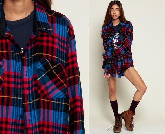 Oversized flannel shirt 80s plaid shirt red blue black 90s for Oversized plaid shirt womens