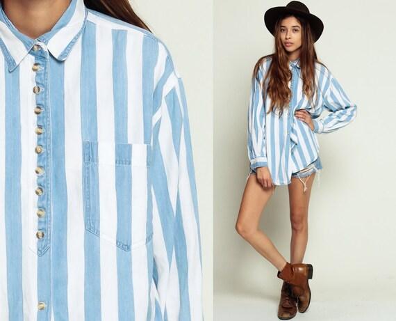 Striped Denim Shirt 80s Button Up Denim Shirt Blue Jean Stripe