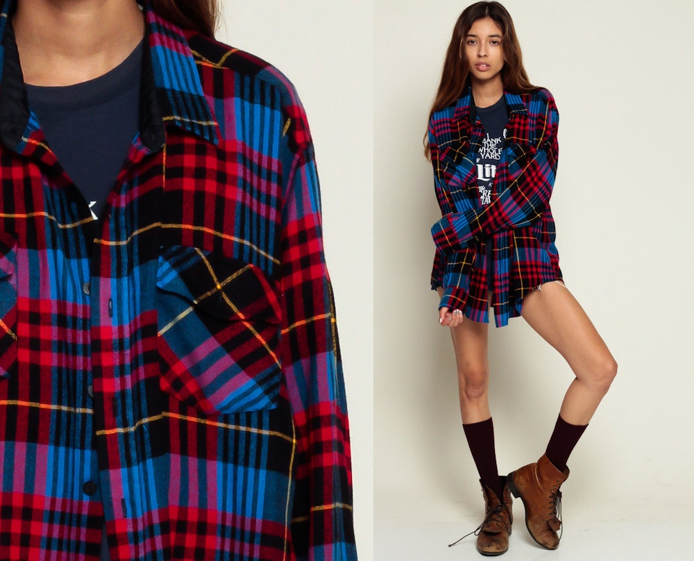 Oversized Flannel Shirt 80s Plaid Shirt Red Blue Black 90s