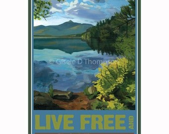 Live Free and Explore NH Poster 8x12 print