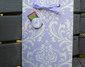 Magnetic Board, Dorm Decor, Baby Nursery, Photo Frame, Ozborne Wisteria Lavender Fabric, Wall Hanging, Home Office Organizer