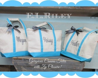 Monogram Bridesmaid Tote, Personalized Bridesmaids Gift Tote,  Bridal Party Gift, Set of 6