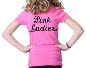 PINK LADIES Pink Girls child girl Shirt greaser lady punk party misses sock hop 1950s 50s retro Tshirt  X-Small Small Medium Large or XL new
