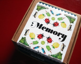 Card game for kids - MEMORY - with unique watercolor illustrations