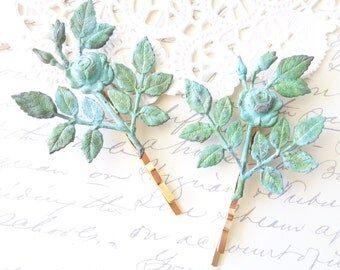 Verdigris Rose Blossom Hair Pins - Leaf Bobby Pins - Wedding Hair - Bridal - Woodland Collection - Whimsical - Mint Green Patina