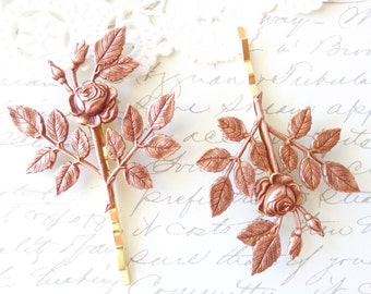 Rose Gold Rose Blossom Hair Pins - Leaf Bobby Pins - Wedding Hair - Bridal - Woodland Collection - Whimsical