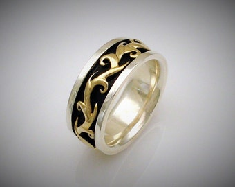 ELVEN RING - Yellow gold, Sterling Silver and electroplated black ceramic