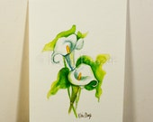 Calla Lily watercolor painting / ten most interesting flower series / Original watercolor / flower painting 5 x 7