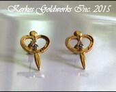Sapphire Goddess Earrings Gold Handmade