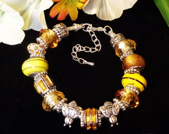 Honey Bees - European Style Bracelet with Chunky Beads in Shades of Yellow and Gold