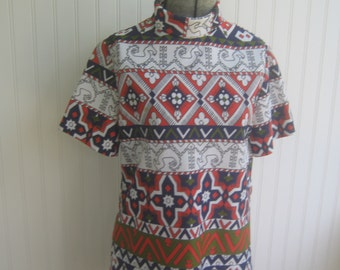 Vintage Top Shirt Graphic Geometric Print