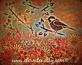 Bird on a Branch Art Print 8x10