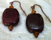 Burgundy Dangle Earrings, Burgundy Moukite Pierced Earrings, Modern Style, 1 inch