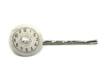 Lovely Clockwork Steampunk Hair Pin Barrette with Aurora Borealis Swarovski Crystal Accent by Ghostlove