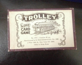 Vintage Unused Trolley Card Game with Original Box & Instructions Banded Cards
