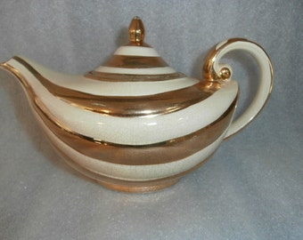 Arthur Wood Gold & Cream STRIPE Pattern  MOD Teapot   Aladdin Made in England # 3782