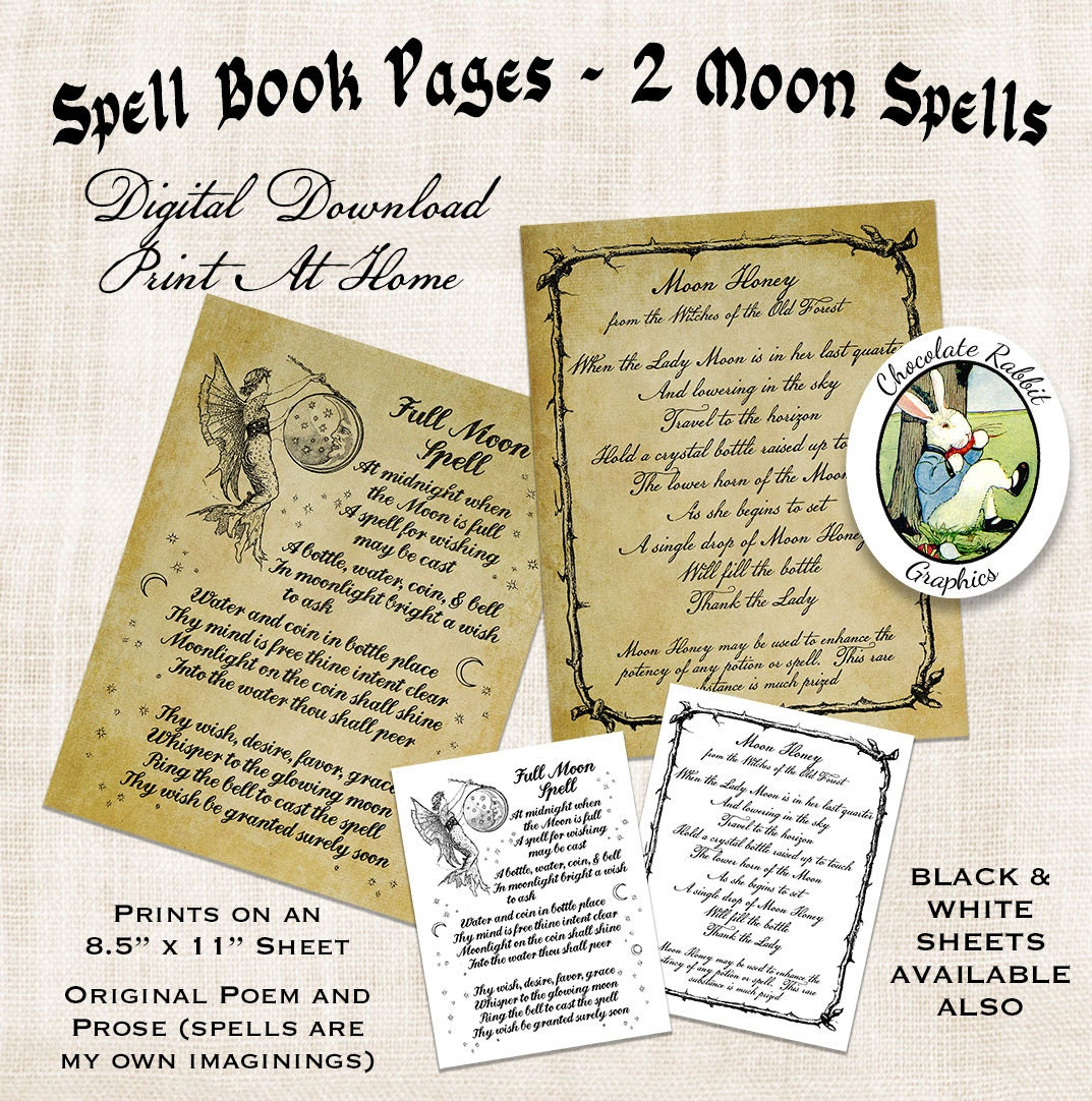 It is a photo of Magic Printable Spell Book Pages