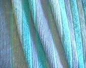 Aqua Lavender Striped Sculpted Vintage Chenille Bedspread Fabric 12 x 24 Inches