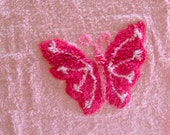 Lovely Butterfly Pink Plush Cotton Chenille Fabric 19 x 19 Inches