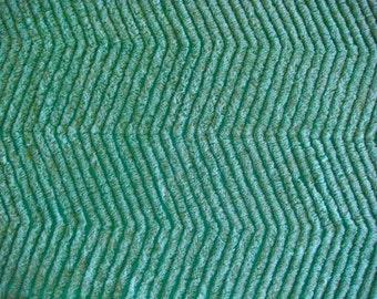 Teal Green Chevron Plush Vintage Cotton Chenille Bedspread Fabric 14 x 25 Inches